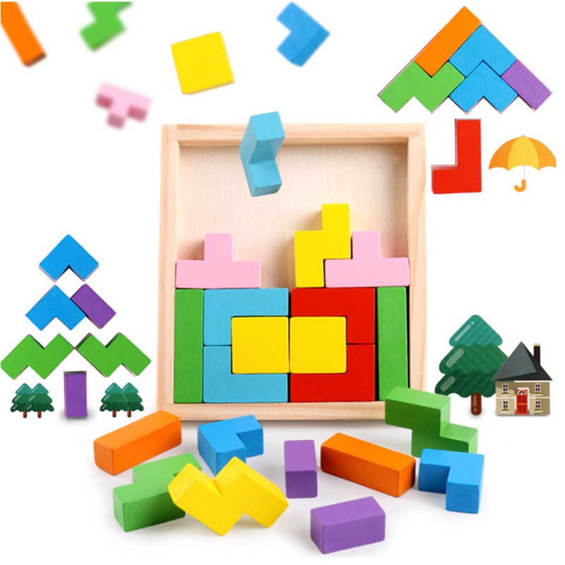 1Set Hot Colorful 3D Puzzles Tetris Wood Jigsaw Children Toys Baby Early Puzzle Toys Kindergarten Kids Early Education Color Toy