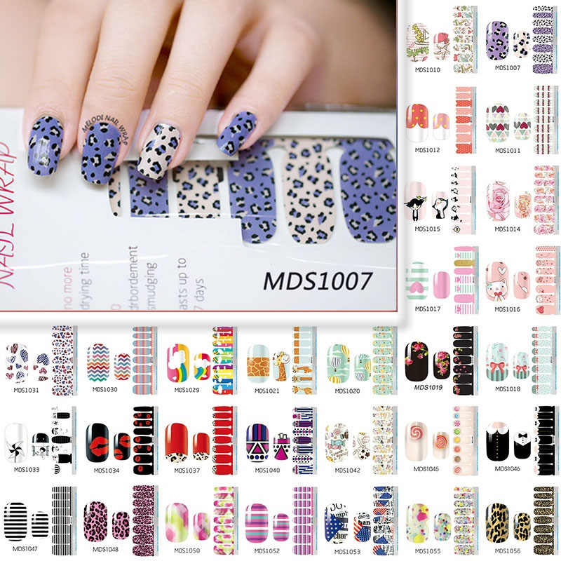LADY KINDOM Nail Polish Strips DIY Waterproof Nail Wraps Cute Cartoon Pattern Nail Stickers Nail Patch for Women (MDS1007-1031)