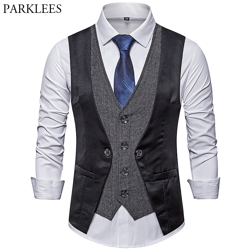 Men's Stitching Fake Two-piece Single-Breasted New Casual V-neck Vest Personality Slim Fit Jacket Vest Business Blazer Vest Coat