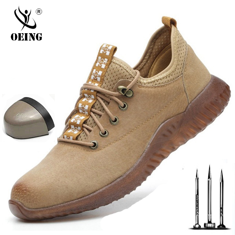 Pig Skin Breathable Work Shoes Security Men Woman Leather Light Safety Shoes Men Anti-smashing Steel Head Work Boots 2019 New