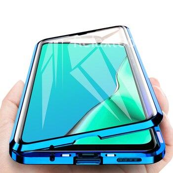 Перейти на Алиэкспресс и купить Закаленное стекло для Oppo A11 A11X A3s A7 A5 A9 2020, чехол с магнитной силой для Oppo A5 A9 A 5 9 2020, закаленное стекло для задней панели