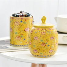 Ceramic  tea box storage ceramic jar puer container canister caddy D135
