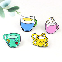 Cartoon Game Mug Pin Robot Finn Jack BMO Princess Comic Coffee Cup Star Moon Bubble Ice Cream Shirt Enamel Badge Gift for Child(China)