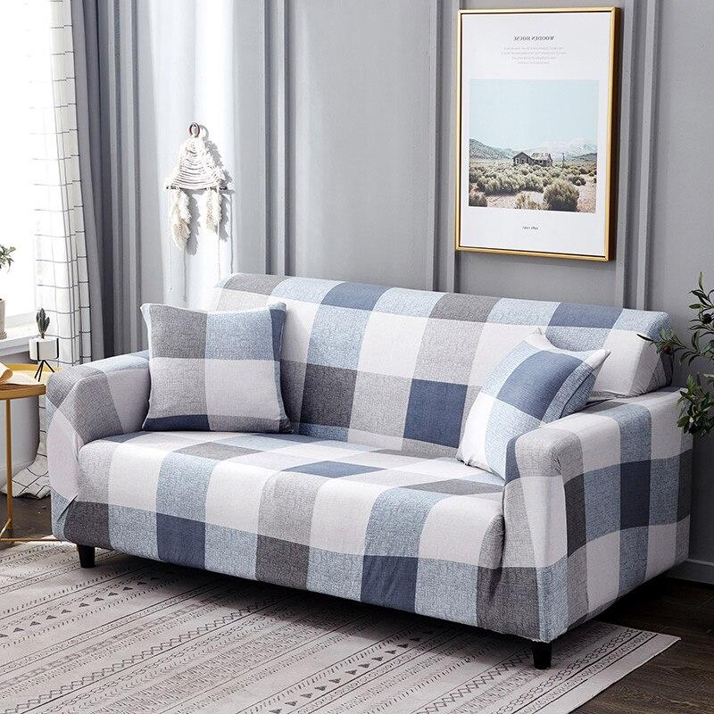 Купить белого и синего цвета в клеточку цвета чехол для дивана из эластичного