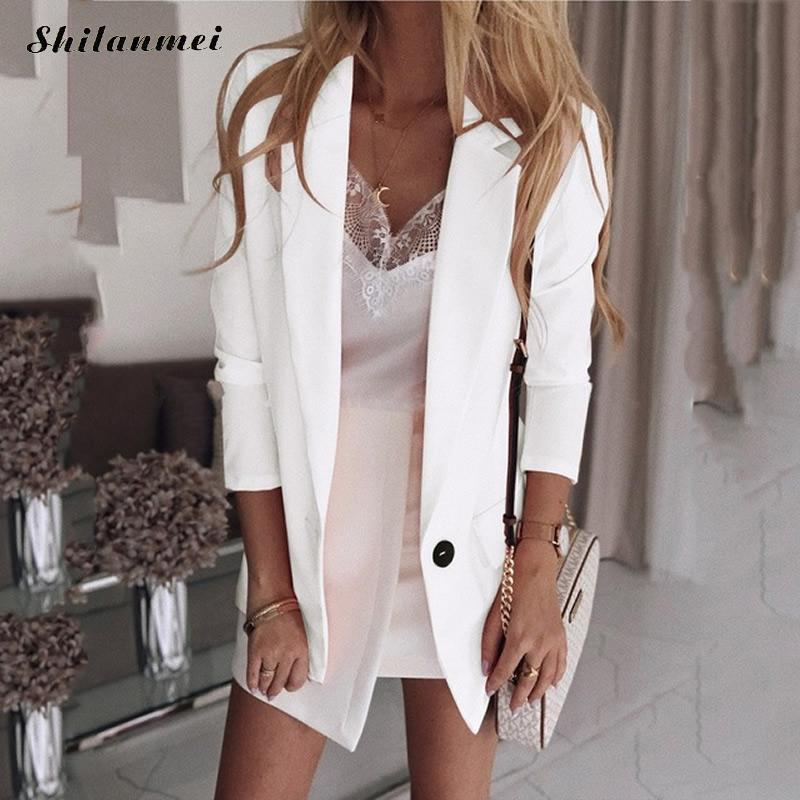 2019 Fashion Solid Women Blazers And Jackets Ladies Office Suit Coat Autumn Button Casual Blazer Plus Size Female Jackets 5xl
