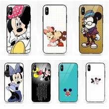 Popular Cute Mickey Mouse Soft TPU Frame Tempered Glass Fashion Cover Case For Apple iPhone 5 5C 5S SE 6 6S 7 8 Plus X XS Max XR(China)