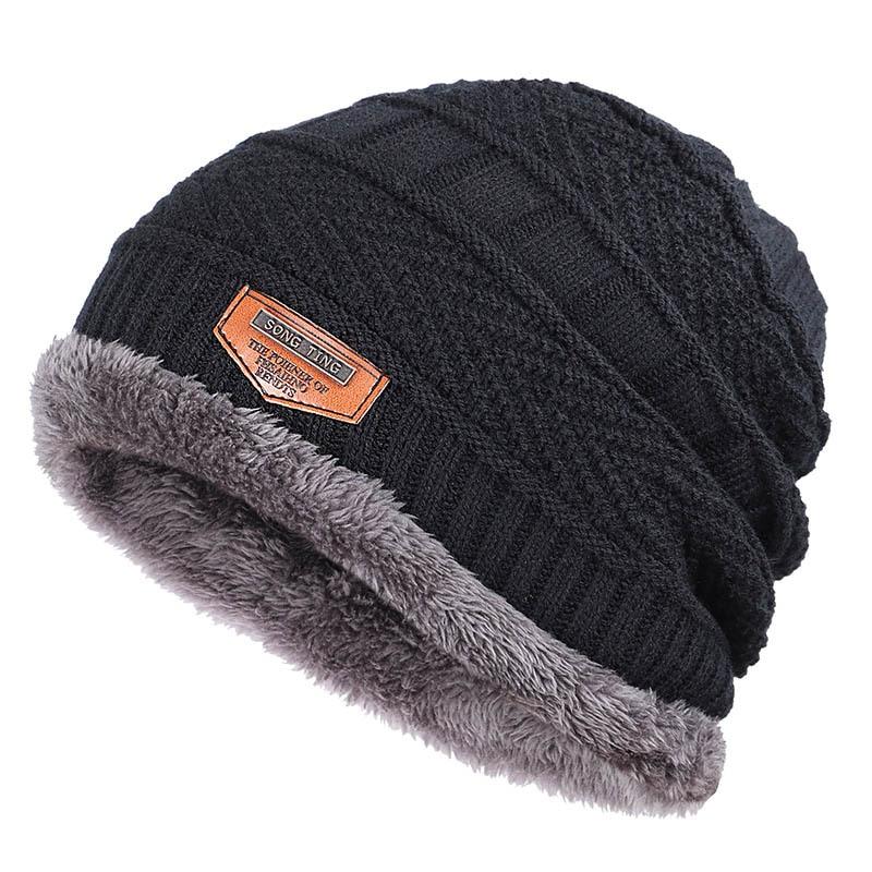 Invierno nuevos sombreros de punto para hombres más terciopelo grueso al aire libre cálido y gorros cómodos unisex etiqueta de cuero skullies beanie Masculino