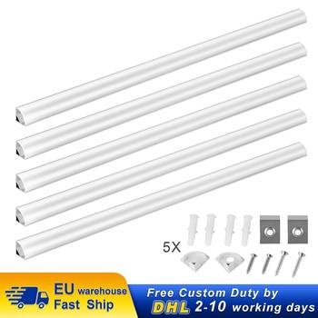 5pcs LED Light Bar 1m LED aluminum profile rectangle V-shape for strip lights wide cutable with end cap fastening clip 1