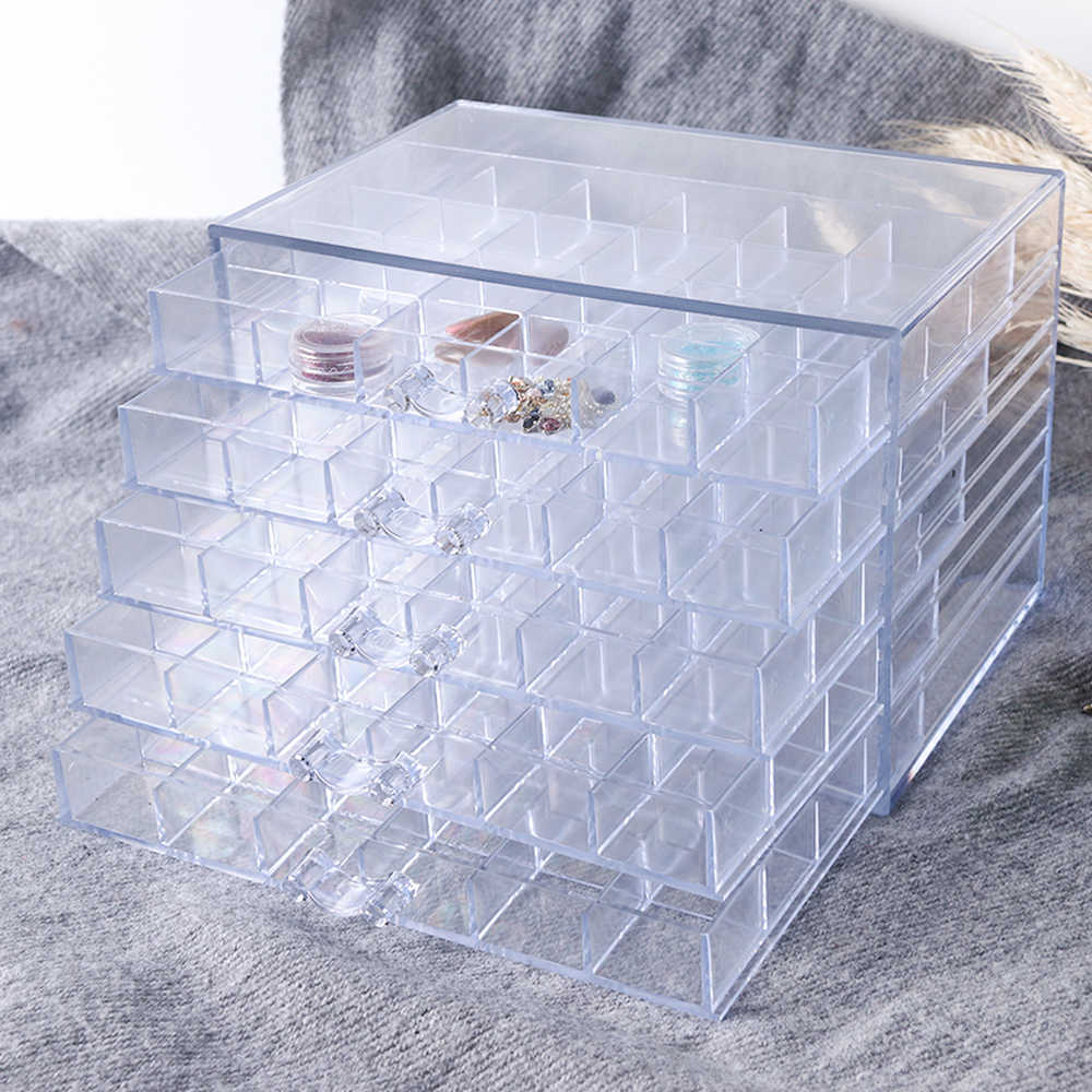 120 Grids Empty Nail Art Decorations Storage Box Display Container Rhinestones Glitter Sequence Holder Case Manicure Tools TR755