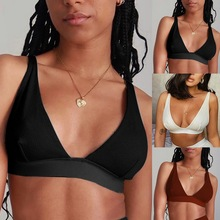Tank-Tops Basic Crop-Top White Sexy Casual Women Summer Black V-Neck Sleeveless Ribber