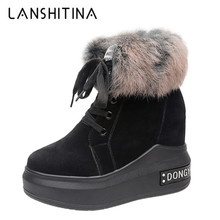 купить 2019 Winter High Platform Boots 8.5CM High Heels Women Thick Sole Ankle Shoes Wedges Autumn Sneakers Warm Fur Snow Boots Woman онлайн