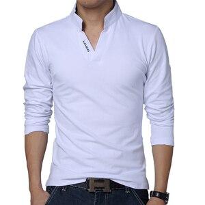 2020 T-Shirt Men Spring Cotton T Shirt Men Solid Color Tshirt Mandarin Collar Long Sleeve Top Men Brand Slim Fit Tee Shirts 5XL(China)