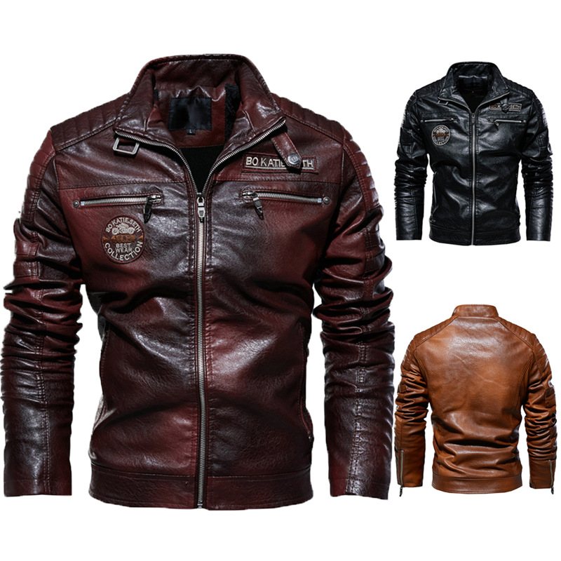 Мужская кожаная куртка 2019, новый стиль, мужская куртка из искусственной кожи, европейский и американский стиль, Байкерская Современная жест