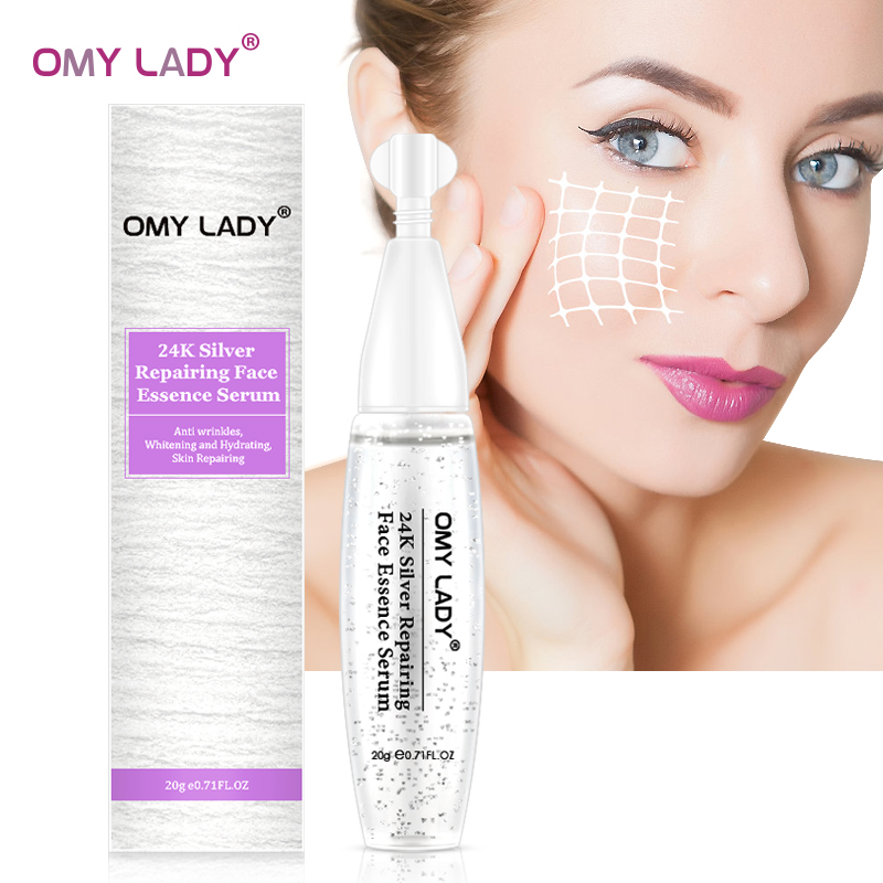 OMY LADY 24K Silver Collagen Serum Whitening Foil Essence Serum Anti Wrinkle Anti-Aging Serum Acne Scar Removal Shrink Pores