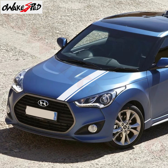 Car Styling Hood Bonnet Sport Stripes Decor Stickers For-Hyundai Veloster Auto Cover Engine Stickers Vinyl Decals Accessories 3