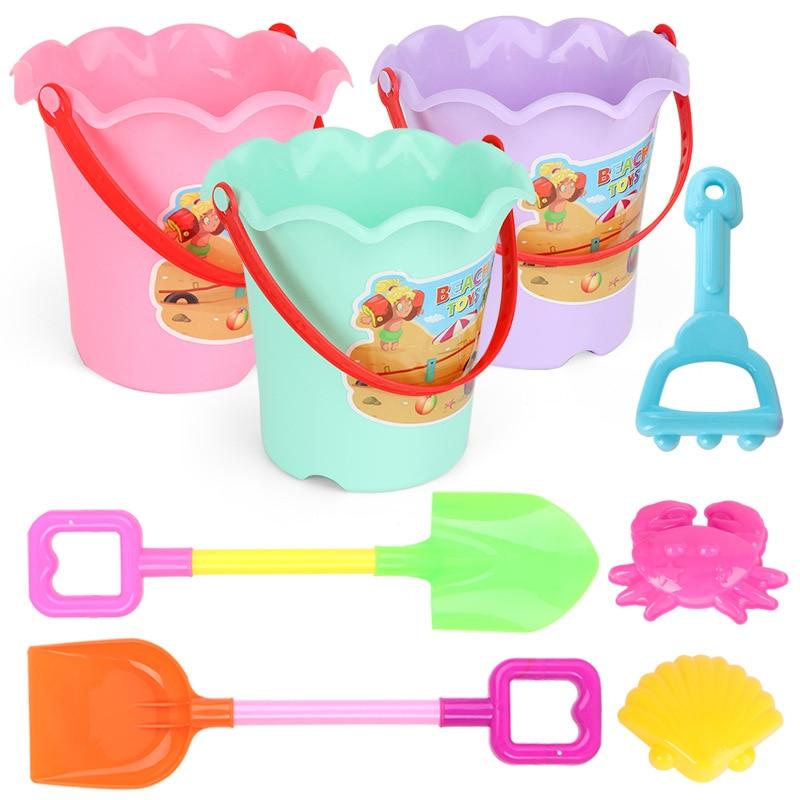6Pcs Random Color Summer Sand Sandbeach Kids Plastic Beach Toys Castle Bucket Spade Shovel Rake Water Tools Sets