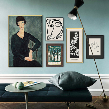 Classic Picasso Amedeo Modigliani Artwork Collection Sketch Poster Canvas Print Painting Wall Pictures Living Room Home Decor image