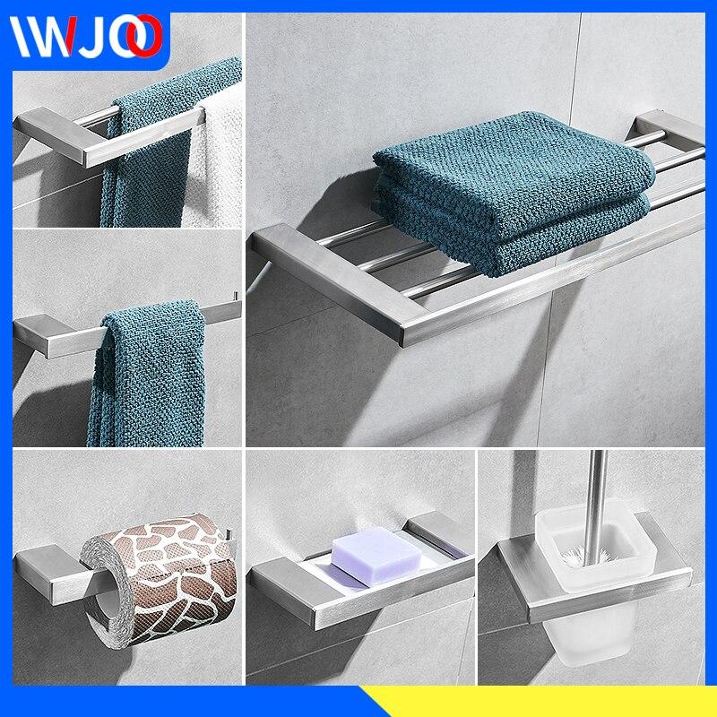 Bathroom Towel Holder Bar Brush Stainless Steel Rack Hanging Coat Hook Toilet Paper Soap