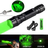 300 Metri Zoomable Arma pistole Verde Chiaro/Rosso/IR 850nm Torcia Elettrica Predator Varmint Hog di Caccia di Airsoft Torcia + 18650 + Caricatore USB