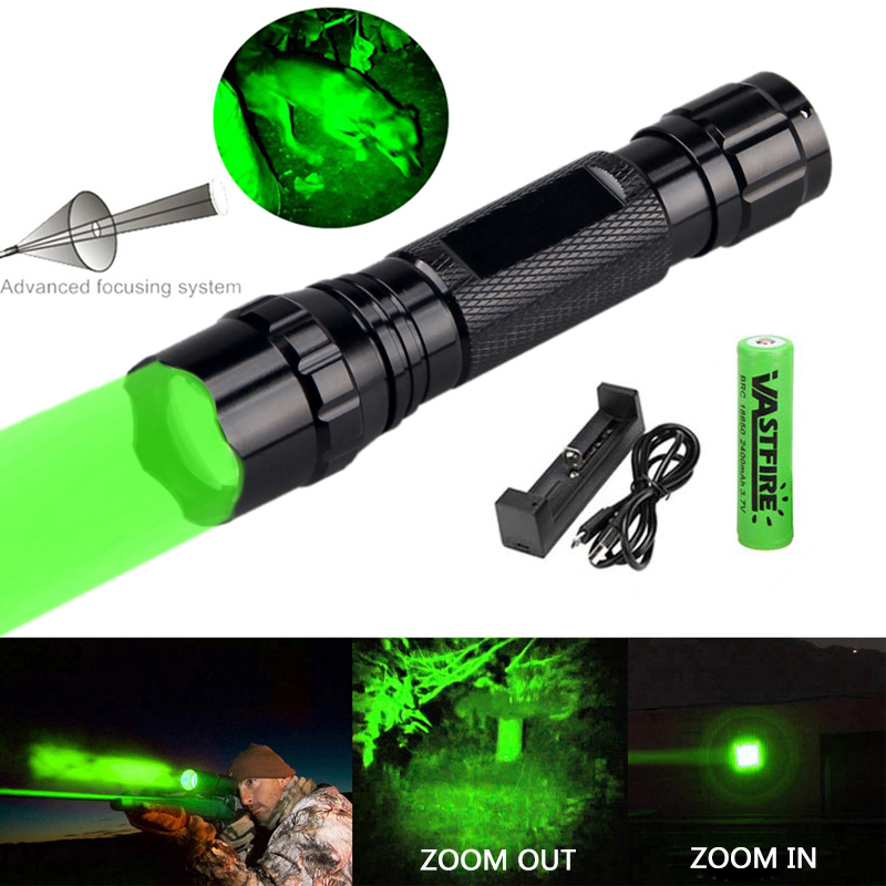 300 Yards Zoomable Led Weapon Guns Light Green Tactical Flashlight Predator Varmint Hog Hunting Airsoft Torch+18650+USB Charger