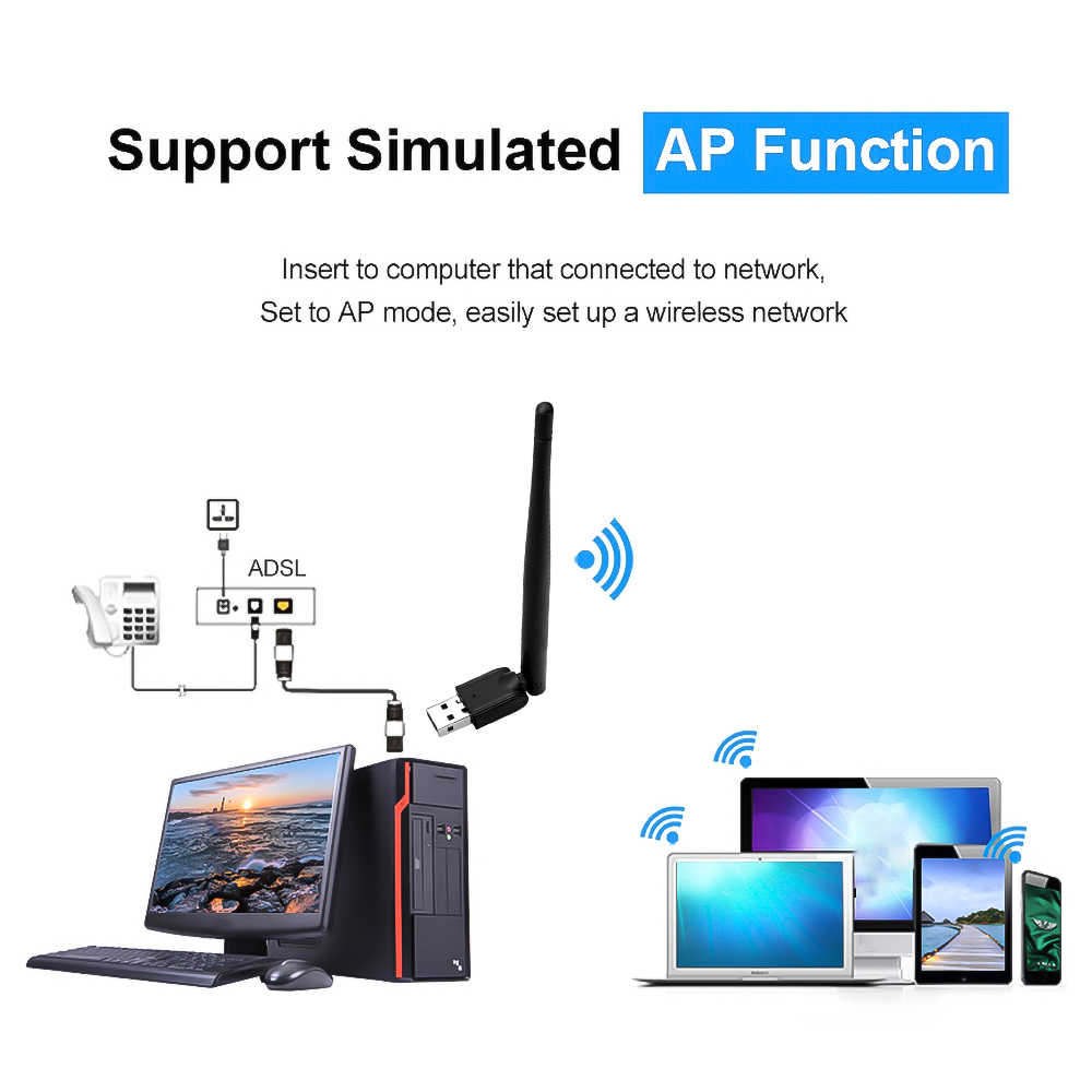 Mini Usb Wifi Adapter Antenne Werk Voor Freesat/Gtmedia V7 Hd V8 Super Digitale Satelliet Wifi Ontvanger Receptor Tv set Top Tv Box