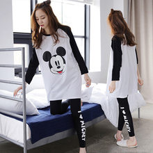 Mickey mouse primavera outono longo-sleeved pijamas senhora roupa interior camisas dos desenhos animados terno feminino roupas de casa pijamas