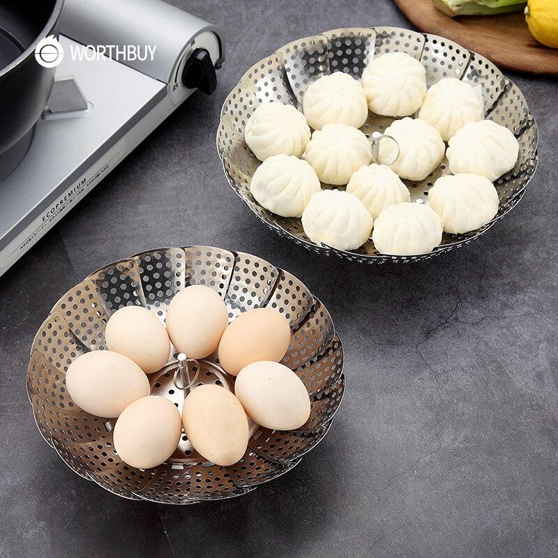WORTHBUY Multifunctional Steamer Basket Foldable Stainless Steel Steamer Insert Kitchen Cookware Food Steamer Rack For Egg Bun