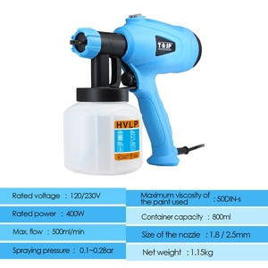 Image 2 - TASP Electric Spray Gun 400W HVLP Paint Sprayer Compressor Flow Control Airbrush Power Tools Easy Spraying & Clean 120V/230V