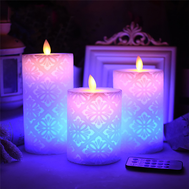 Flameless Electronic Candle Night Light LED Candle With RGB Remote Control Wax Pillar Candle For Christmas Wedding Decoration