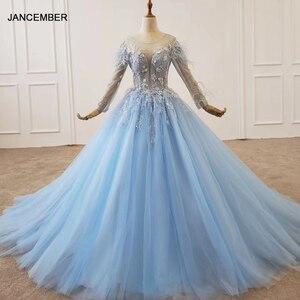 Image 1 - HTL1203 סיום כחול שמלת o צוואר ארוך שרוול נוצת על כתף ומותנים אור טול חצאית שמלת ערב платье выпускное