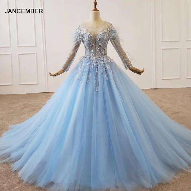 HTL1203 סיום כחול שמלת o צוואר ארוך שרוול נוצת על כתף ומותנים אור טול חצאית שמלת ערב платье выпускное