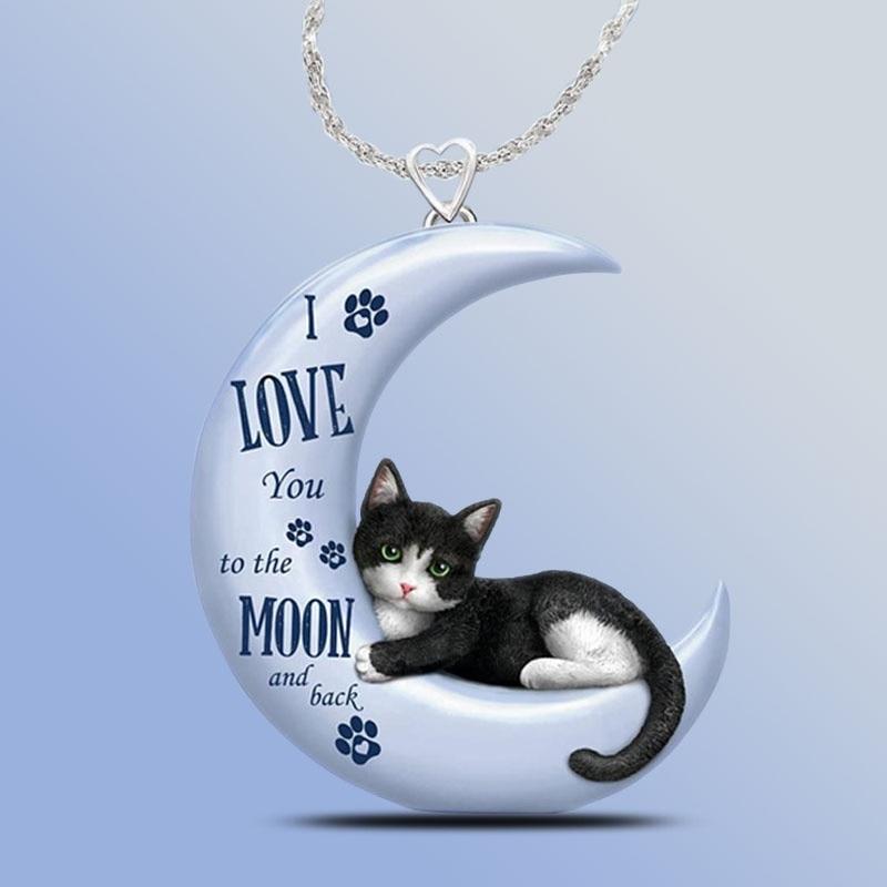 Изысканный голубая луна подвеской в виде кота со стразами для женщин; Симпатичные ожерелье с подвеской в виде полумесяца, ювелирное изделие...