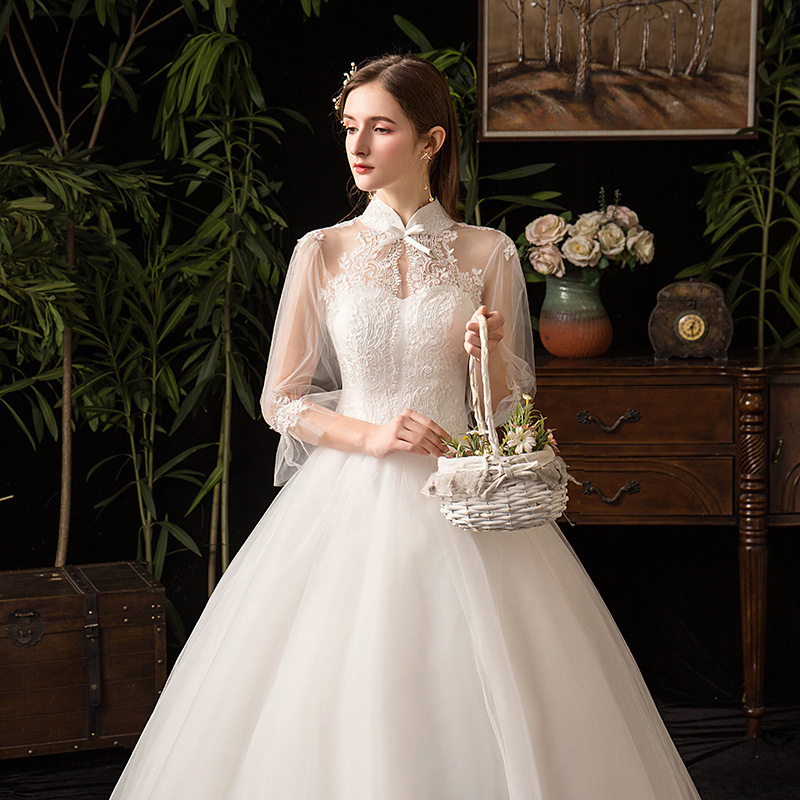 2019 Rushed Dresses 2020 New Collar Sleeve Cultivate Morality Show Thin Yarn Bride Studio Neat, Summer And Fall Of Big Yards
