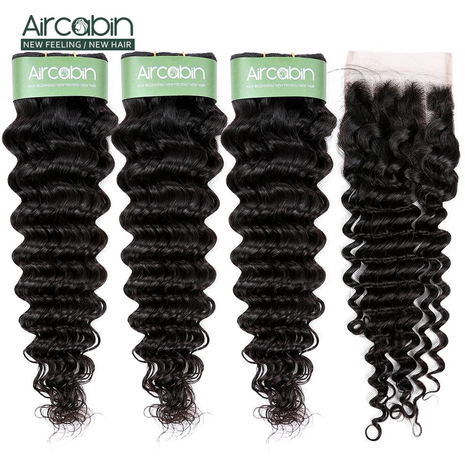 Aircabin Brazilian Deep Wave Bundles With Closure Remy Hair Deep Wave Human Hair 3 Bundles And 4x4 Lace Closure Free Shipping