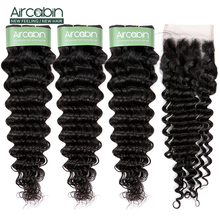 Aircabin Brazilian Deep Wave Bundles With Closure Remy Hair Human 3 And 4x4 Lace Free Shipping