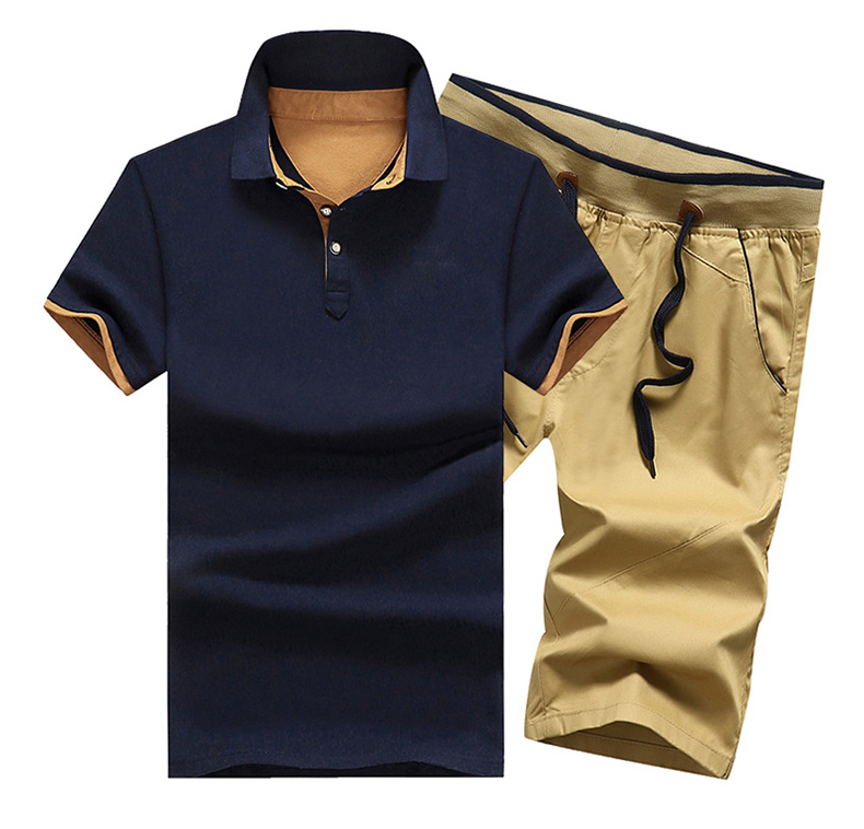 Men Set Casual 2019 Summer Solid Slim Fit Tracksuit Male 2PC Poloshirts + Shorts Sets New Drawstring Elastic Sportsuit Turn Down