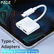 PZOZ 2 ב 1 סוג C כדי USB C עבור iPad פרו 11 Huawei Mate 20 פרו לייט טלפון מתאם מטען 3.5mm שקע אוזניות נתונים Sync כבלים