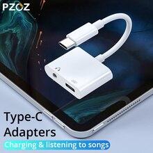 PZOZ 2 in 1 di Tipo C a USB C Per iPad Pro 11 Huawei Mate 20 Pro Lite Del Telefono Adattatore caricatore 3.5 millimetri Martinetti Auricolare Cavi di Sincronizzazione di Dati