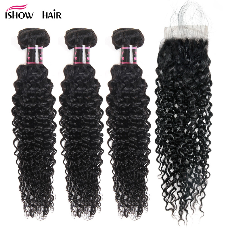 Ishow Malaysian Kinky Curly Hair 3 Bundles With Closure Baby Hair Free Part 4pcs/Lot Human Hair Bundles With Closure Non Remy