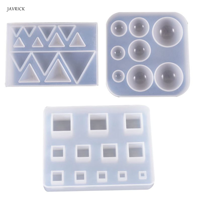 DIY Earrings Pendant Gemstone Making Silicone Mould Triangle Round Epoxy Mold UV Resin Crafts Molds