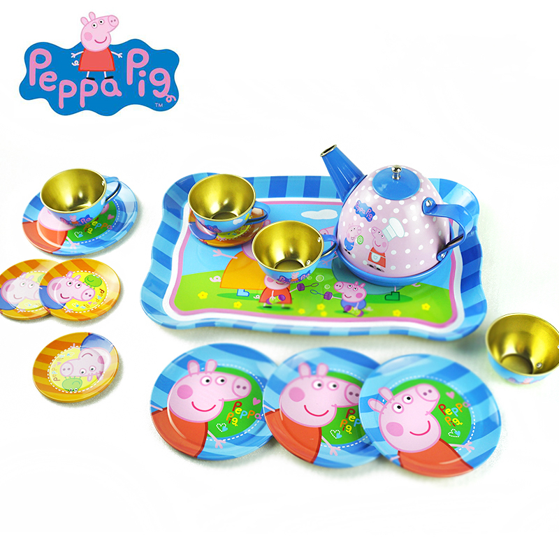 14pcs Peppa Pig Cartoon Pattern Metal Simulated Teapot Teacup Set Afternoon Tea Tinplate Toys Pretend Play Toys For Kid Toys