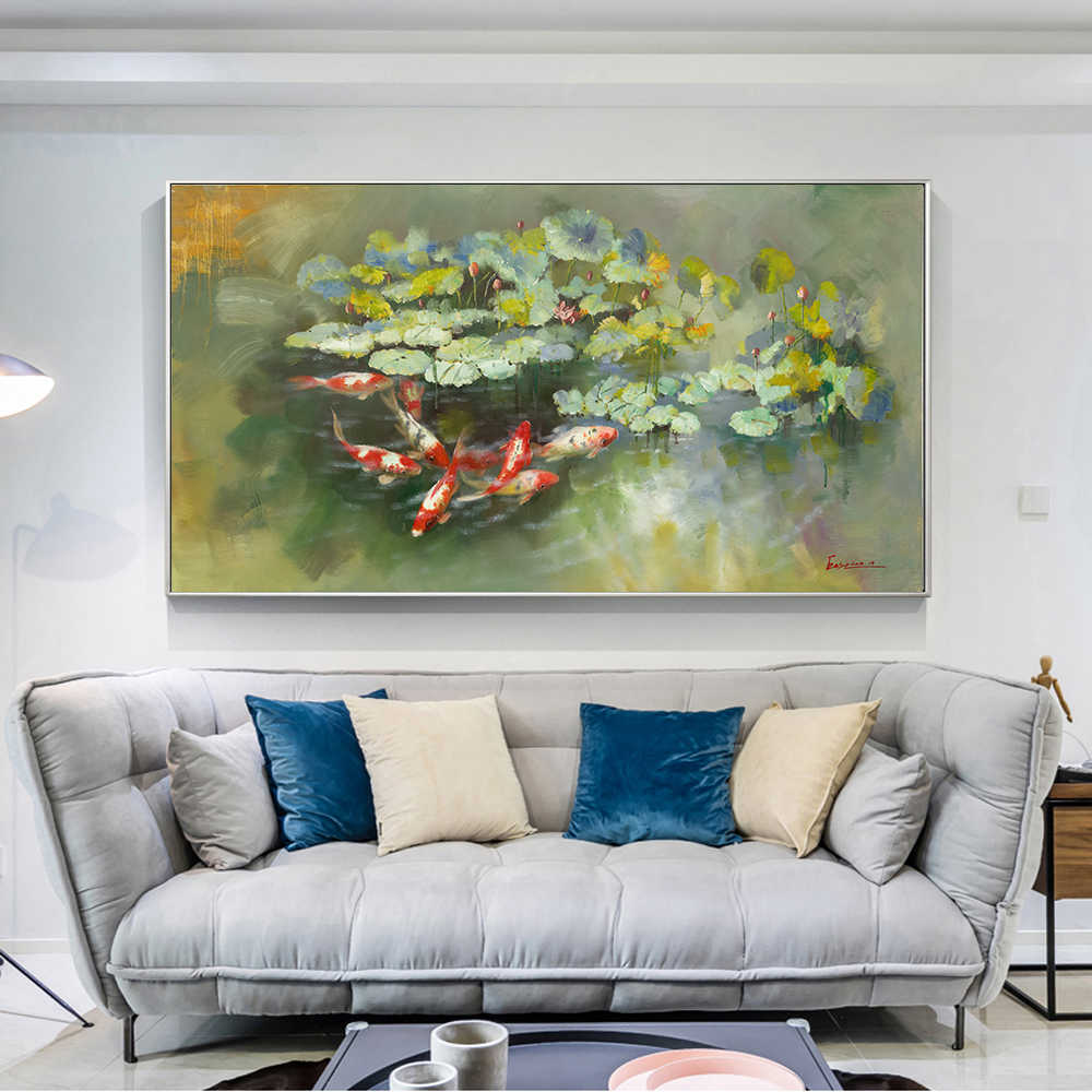 Wall Art Picture Print Chinese Abstract Water Lily Nine Koi Landscape Oil Painting on Canvas Poster For Living Room Modern Decor