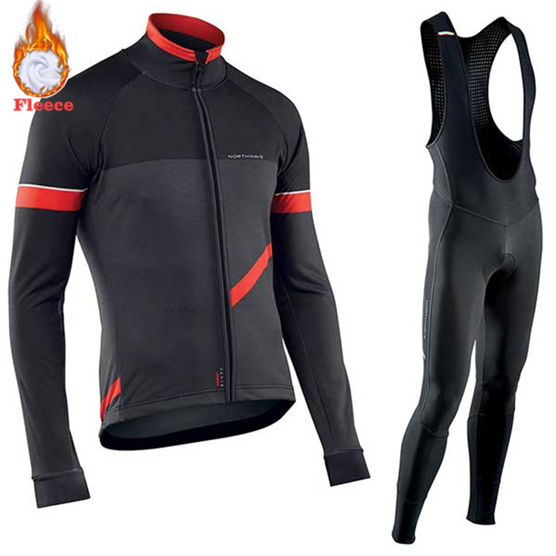 Northwave Warm 2019 Winter Thermal Fleece Cycling Clothing Men's Jersey Suit Outdoor Riding Bike Clothes MTB Long Bib Pants Set