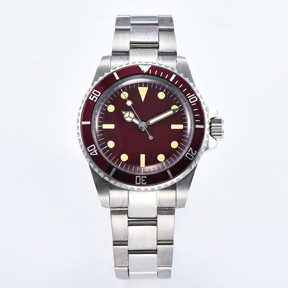 Watch automatic mechanical watch luminous hand red dial men's movement 40 mm steel shell aluminum bezel brushed bracelet 1013