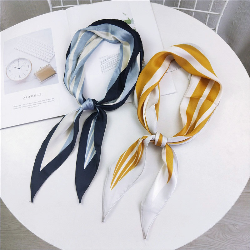 2020 New Elegant Black Yellow Pink Hair Neck Tie Scarf Collar Ladies Silk Long Skinny Hand Bag Scarves Kerchiefs Stoles Bandanas