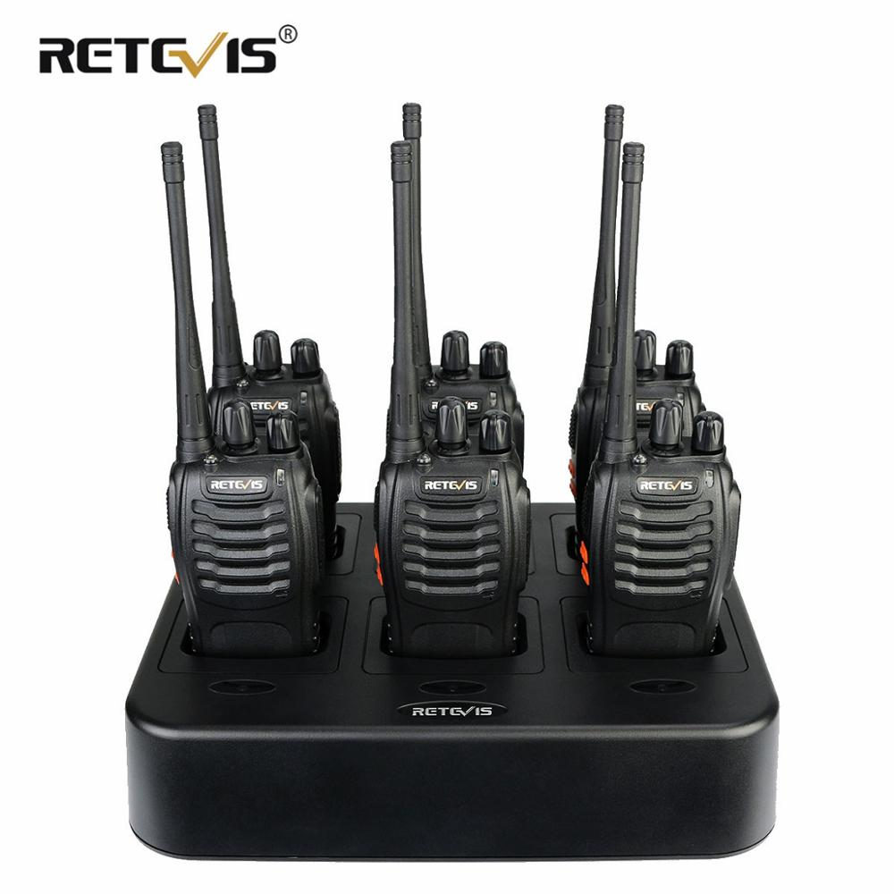 6pcs Retevis H777 Two Way Radio Walkie Talkie + Six-Way Charger VOX UHF Portable Walkie Talkie Transceiver For Hotel/Restaurant