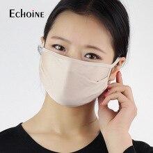 Máscara anti poeira 5 peças, para boca antifumaça pm2.5 dupla 100% seda pura rosto cobertura ao ar livre máscaras reutilizáveis laváveis de proteção