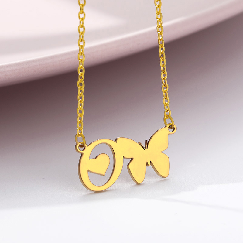 Cute Letter Initial Butterfly Necklaces For Women Stainless Steel Gold Initial A-Z Letter Heart Butterfly Jewelry Valentine Gift