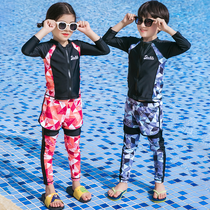 KID'S Swimwear Men And Women Children Diving Suit Big Boy Sun-resistant Long Sleeve Trousers Girls Five-Piece Boys' Three-piece