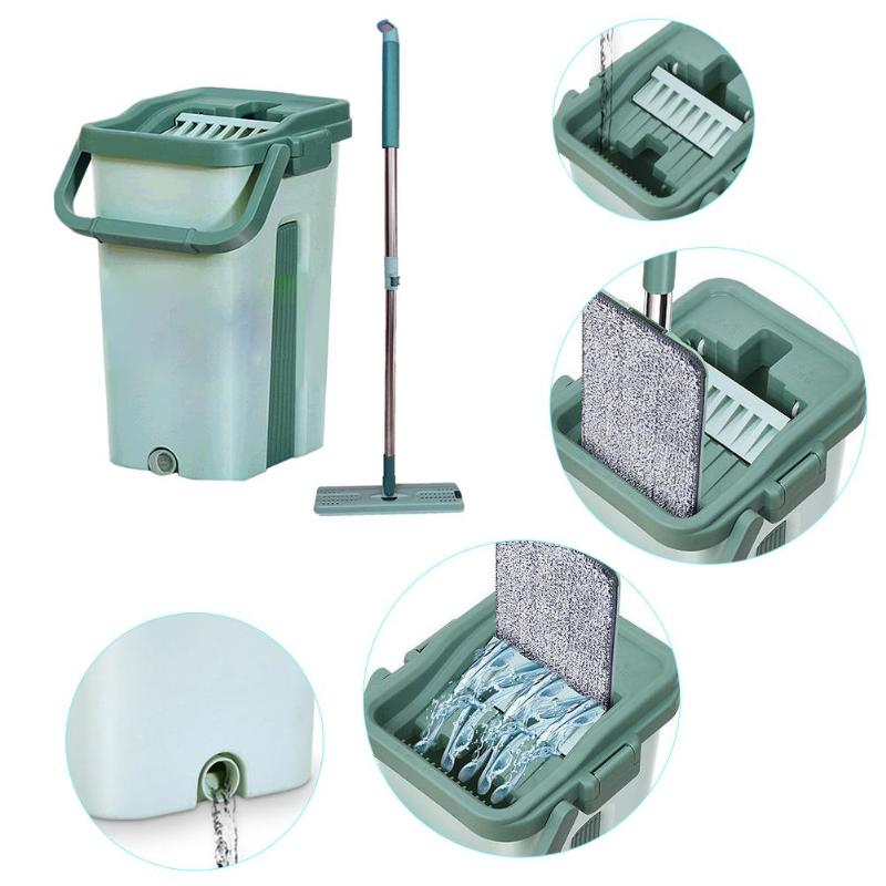 Creative Mop Set 2 in 1 Washing Drying Floor Cleaner Free Hand Washing Dry Wet Household Cleaning Mop Mat Tools